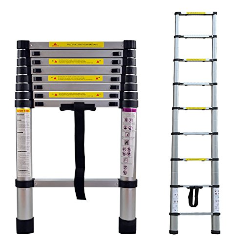 LARS360 Teleskopleiter Multifunktionsleiter Ausziehleiter Anlegeleiter Mehrzweckleitern Hochwertigem aluminium Leiter (2.6m)