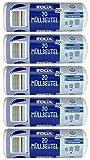 5 Rollen FOLIA Müllbeutel mit Griff, 50 Liter, 20 Stück pro Rolle, transparent