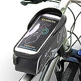 Fahrrad Rahmentasche K1, Wasserdichte Handyhalterung mit Carbon Design, TPU empfindlicher Touchschirm, Geeignet für alle Handys innerhalb von 6 Zoll (alle iPhones und Samsung Smartphones