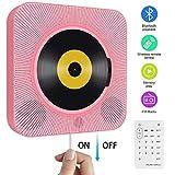 Tragbarer CD Player, wandmontierbar Bluetooth eingebaute HiFi-Lautsprecher für Kinder mit Fernbedienung, FM-Radio, USB mp3 Kopfhöreranschluss, Power an oder aus mit Zugschalter -Rosa