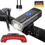 WATERFLY LED Fahrradlicht Set, Fahrradbeleuchtung USB Wiederaufladbare Fahrrad Scheinwerfer mit LED Rücklicht, Wasserdichte Multifunktions LED Fahrrad Licht Set für Outdoor Mountain Road Bike