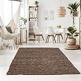 Taracarpet Handweb-Teppich Oslo Wolle im Skandinavischem Landhaus Design Wohnzimmer Esszimmer Schlafzimmer Flur Läufer beidseitig verwendbar 090x160 cm braun Multi
