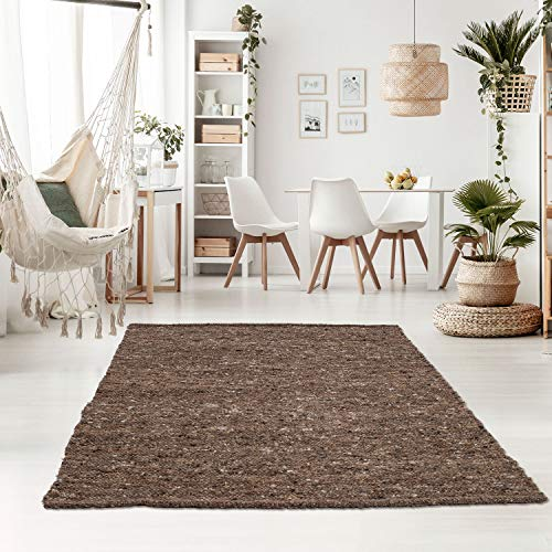 Taracarpet Handweb-Teppich Oslo Wolle im Skandinavischem Landhaus Design Wohnzimmer Esszimmer Schlafzimmer Flur Läufer beidseitig verwendbar 250x250 cm Sand Multi