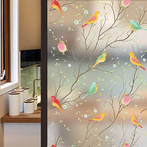 Lifetree Glasmalerei Fensterfolie Privatsphäre Milchglas Folie Statisch Haftenden Vogel Fensteraufkleber 45 * 200 cm