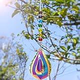 Nice Dream Sonnenfänger mit Kristallanhängern fürs Fenster, Feng Shui Regenbogenmacher Kristall Kronleuchter Kristall Prismen Anhänger 76mm (Regenbogen)