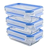 Emsa 514961 3-teiliges Frischhaltedosenset mit Deckel, Glas, Volumen 3 x 0.5 Liter, Transparent/Blau, Clip & Close