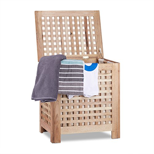 Relaxdays Wäschetruhe Walnuss mit Deckel, entnehmbarer Wäschesack ca. 70 l Volumen, geschlossener Wäschesammler Holz HBT ca. 55,5 x 52,5 x 39,5 cm, natur