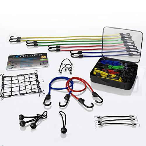 CONTIFIX Premium Gepäckspanner Spannseile in vielen Größen – 25-teiliges universal Expander-Set inkl. Gepäcknetz und Planenspanner – extra starke Spanngummis mit Haken für Fahrrad, Motorrad & Auto