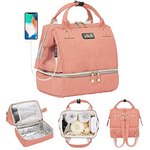 Viedouce Mini Picknicktasche Isolierter,Lunchtasche,Wickelrucksack Wickeltasche,Multifunktional Reise Rucksack für büro camping, USB-Lade Port und 2 x Abnehmbarer Schultergurt(Kleine Größe)