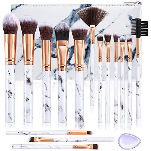 Make Up Pinsel Sets ALLFY 15 Stücke Professionelle Pinselsets makeup Premium Synthetische Lidschatten Concealer Augenbraue Pulver Creme Mischen mit Marmor Kosmetiktasche
