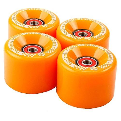 FunTomia 4 Stück Longboard/Skateboard/Mini-Board Rollen (Big Wheels) in 65x45mm 80A inkl. Mach1 Kugellager und Metall Spacer 80A Rollenhärte