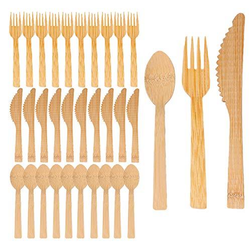 FAPPEN 30 Stücke Bambus Hölzern Einwegbesteck, Biologisch Abbaubares Holz Umweltfreundlich für Party, Camping, Reisen und BBQ (10 Gabeln, 10 Messer, 10 Löffel)