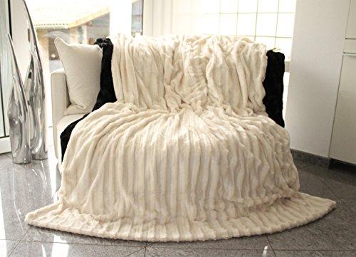 Doppelseitig Decke Fellimitat von Brandsseller Creme/Weiß 220x240 cm