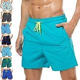 coskefy Badeshorts für männer Jungen Badehose Schwimmhose Schnelltrocknend Kurz Vielfarbig Beachshorts Boardshorts Strand Shorts Sporthose mit Mesh-Futter Tunnelzug (Himmelblau,M(EU)-MarkeGröße XL)