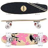 FunTomia Mini-Board Cruiser Skateboard 57cm aus 7-lagigem kanadischem Ahornholz inkl. Mach1 ABEC-11 Kugellager - mit oder ohne LED Rollen (Pink Blume2 / mit weißen LED Rollen)