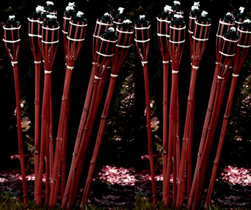 12 Bambusfackeln Gartenfackel 90cm Mahagoni-Farben mit Docht & Tank Bambusfackel Gartendekoration Fackel Gartenfackeln Hochzeit Dekoration Öllampen