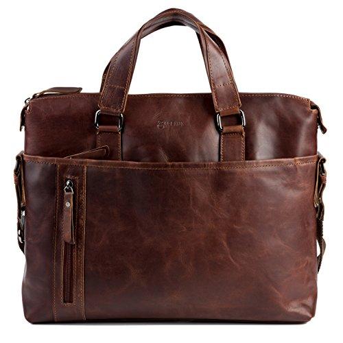 BACCINI Aktentasche LEANDRO - Laptoptasche groß fit für 15,4' mit herausnehmbarer Schutzhülle- Businesstasche mit Schultergurt echt Leder braun-cognac