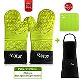 Silikon Ofenhandschuhe bis zu 500℃, Grillhandschuhe Hitzebeständig Grün, zum Kochen, BBQ Handschuhe - Küchenhandschuhe, 1 Paar weiche Innenwolle - Schürze u. Topflappen als bonus