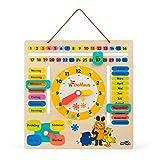 Lerntafel aus Holz mit Motiven aus 'die Sendung mit der Maus', erklärt spielend das Datum, Jahreszeiten und die Uhrzeit mit drehbaren Zeigern auf deutscher Sprache, geeignet für Kinder ab 3 Jahren