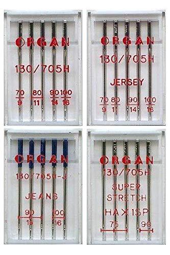 Organ Nähmaschinennadeln Standard, Jeans, Jersey, Super Stretch, Set Stärke