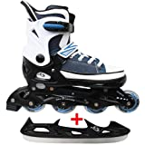 Cox Swain Sneak Kinder Inline Skates & Kinder Schlittschuh 2 in 1 - größenverstellbar ABEC5, Colour: blue, Size: S (33-36)