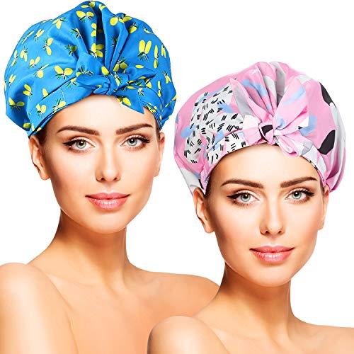 Duschhaube Damen, Duschkappe, 2 Stück Wasserdichte Elastische Lange Haare Haarschutz Haarhaube für Salon, Spa, Reise, Hotel, Dusche,Badezimmer (2 Stück)