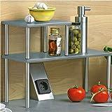 Zweistufiges Küchenregal Regal Küchenablage Küchenleiste Edelstahl Metall H32cm (Grau/Silber)