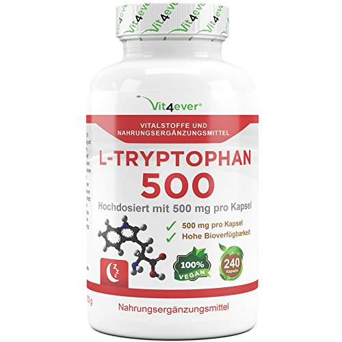 L-Tryptophan 500mg, 240 Kapseln, Aminosäure, Laborgeprüft, Hochdosiert, Vegan, Motivation & Schlaf Support, Vit4ever