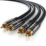 CSL-Computer Primewire - 0,5m 2x Cinch zu 2x Cinch Kabel   AUX Eingänge Audio 2x Cinch/RCA Stecker zu 2x Cinch/RCA Stecker   Metall-Stecker vergoldet/doppelte Schirmung