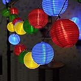 Lichterkette Bunt Lampions Innen Außen - String Lights Outdoor,20 LEDs 5m Laterne Wasserdichte Batteriebetriebene Gartenbeleuchtung LED Lichterkette Dekoration für Garten Weihnachten Party Hochzeit