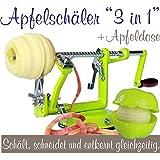 Made for us - Profi Alu- Apfelschäler Apfelschneider Apfelentkerner Schälmaschine mit Apfeldose, in Hellgrün
