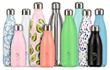 Chilly's Trinkflaschen | Auslaufsicher, Kein Beschlagen | BPA-freier Edelstahl | Wiederverwendbare Wasserflasche | Doppelwandige Vakuum Isolierung | Hält Getränke +24 Std. kalt, Heiss für 12 Std. | Chrom Roségold, 500ml