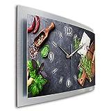 Kreative Feder Kräuter Küche Wanduhr 3D XXL Designer leise Funk Motiv Funkuhr Wandbild modernes Design WAA063FL (50x30cm)
