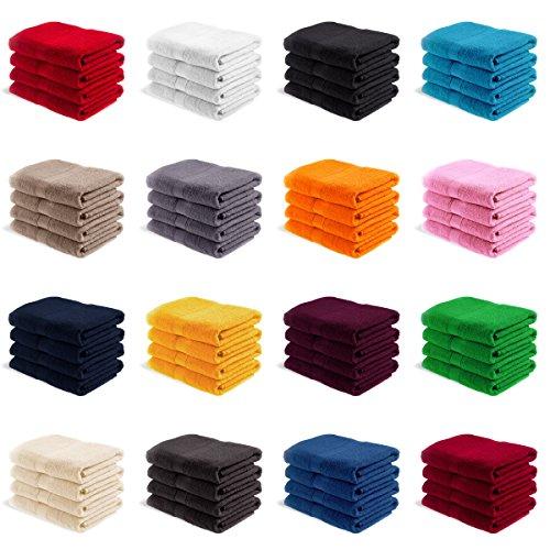 EllaTex Handtuch-Set aus Serie Paris 0040089 100% Baumwolle 500 Gramm/m², Farbe:Orange, Größe:4er Packung 30 x 50cm - Gästehandtücher