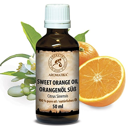 Orangenöl, 100 % reines ätherisches Orangenöl 50ml - Brasilien -Orangen Öl für guten Schlaf - Beauty - Baden - Körperpflege - Wellness - Schönheit - Kosmetik - Aromatherapie - Entspannung - Massage - SPA - Raumduft - Duftlampe, Glasflasche, Orangenöl Ätherisch von AROMATIKA