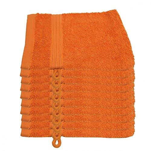 Julie Julsen 10er Pack Waschlappen 23 Farben erhältlich weich und saugstark 500gsm Öko Tex Orange 15 x 21 cm