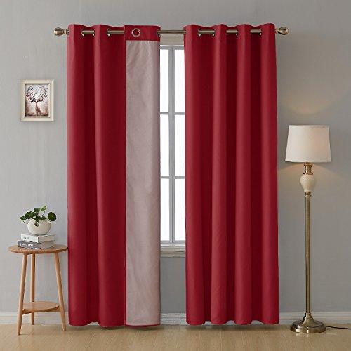 Deconovo Thermogardinen mit Ösen Oxford Vorhang für Schlafzimmer 229x117 cm Rot 2er Set
