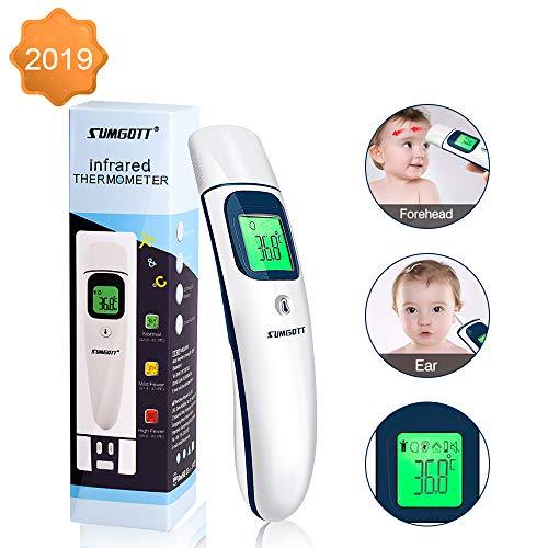 Fieberthermometer SUMGOTT Stirnthermometer Ohrthermometer Infrarot thermometer Dreifarbiges Display mit Fieberwarnung Digitales medizinisches Thermometer für Baby, Kind, Erwachsener
