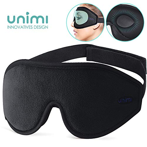 Unimi Premium Schlafmaske Damen und Herren, NULL-Druck 3D konturierte verbesserte Augenmaske, verstecktes Nasenflügel-Design ermöglicht absolute Dunkelheit, 100% hautfreundliche Seide Augenmaske