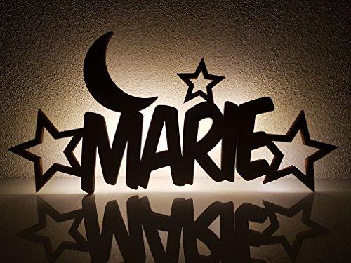 Schlummerlicht/Nachtlicht'Mond und Sterne' - personalisiert mit Namen - Optional mit Zugschalter und/oder Lackierung