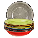 6-TLG. Tellerset Malaga | Bunte Suppenteller tief | 650 ml | Ø 21.5 cm | Salatteller rund | Servier-Schale | Porzellan-Teller | handbemalt | Bicolor