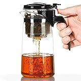 Dimono Profi Teebereiter mit Knopf und Filtereinsatz aus Borosilikat-glas Teezubereiter Teekanne