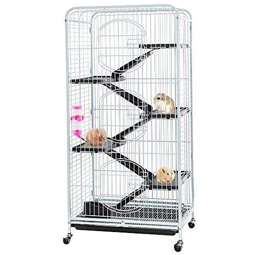 AUFUN Rattenkäfig mit 3 Fronttür 132x64.5x44.5cm - Käfig für Ratten Hamster,Frettchen, Meerschweinchen, Chinchilla, Kaninchen