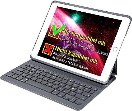 Inateck Tastatur + Hülle für das neue iPad 9,7 oder das iPad Air1, Keyboard Case mit automatischer wake/sleep- und Mulit-Angle- Ständer-Funktion(BK2003-DG)