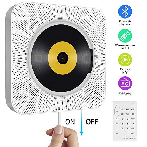 Tragbarer CD Player, wandmontierbare Bluetooth eingebaute HiFi-Lautsprecher für Kinder und Studenten, die Heim-Audio-Boombox mit Fernbedienung FM-Radio USB mp3 Kopfhöreranschluss mit Zugschalter