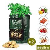 Joywow 10 Gallonen Kartoffel Pflanzsack, Garten Grow Bag, Pflanzbeutel aus Vliesstoff mit Tragegriffen für Kartoffel/Karotte und mehr(2er Pack)