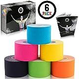 Talasi Kinesiologie Tape Set - 6 Rollen Mix zu je 5cm x 5m - inkl. Tape-Guide mit Infos und Anleitungen zum Tapen mit Kinesio Tapes
