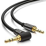 deleyCON 1m Klinkenkabel 3,5mm AUX Kabel Stereo Audio Kabel Klinkenstecker 1x 90° gewinkelt für PC Laptop Handy Smartphone Tablet KFZ HiFi-Receiver schwarz