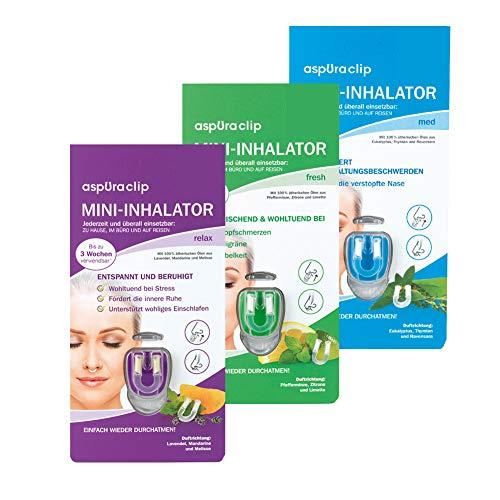 aspUraclip Mini-Inhalator mix (3er Pack)   Erster Mini-Inhalator für die Nase   100% Bio-Öle können für Linderung, Entspannung und Frische sorgen   Im Set enthalten sind 1x med, 1x fresh & 1x relax