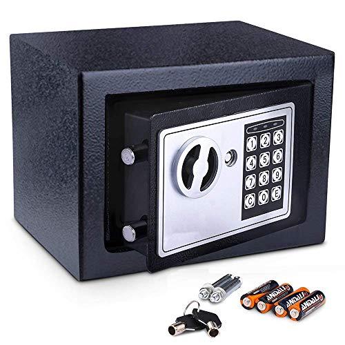 COOCHEER Tresor, Digital Elektronischer Safe, Doppelbolzenverriegelung, Wandtresor, 23 x 17 x 17 cm, Möbeltresor, Elektronikschloss, Schwarz